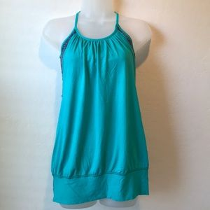 Lululemon No Limits teal purple shelf bra tank top